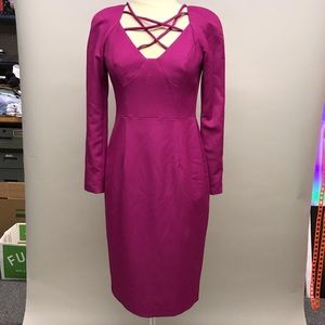 Black Halo fuchsia Cross front cocktail dress